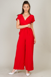Short Sleeve Jumpsuit With Pocket