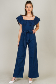Ruffle Neck Line Belted Denim Jumpsuit