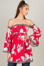 Off The Shoulder Floral Long Sleeve Top