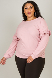 Plus Size Long Sleeve With Ruffle Accent Pullover