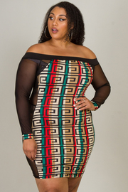 Plus Size Printed Off The Shoulder Mini Dress