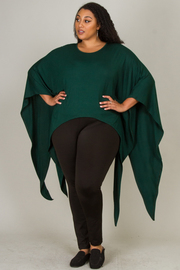 ROUND NECK SLEEVE AND SIDE PART CASCADE SHAPE TOP