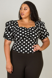 SQUARE NECK PUFFED SHORT SLEEVE POLKADOT TOP