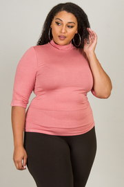MOCK NECK 3/4 SLEEVE BASIC SOLID TOP
