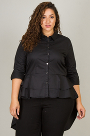 Plus Size 3/4 Sleeve Button Down Long Train Top