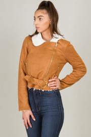 Side Zipper Long Sleeve Jacket With Belt