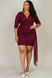 Plus Size 3/4 Sleeve Dress With Long Tie-Up On Waist