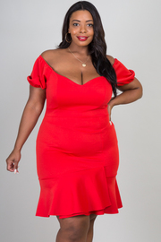 Plus Size Off Shoulder Short Sleeve Ruffle At Lower Hem Dress
