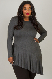 Plus Size Crew Neck Long Sleeve Asymmetrical Long Top