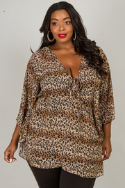 Plus Size Wide Bell Sleeve Leopard Print Top