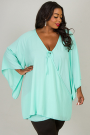 Plus Size Long Wide Bell Sleeve Overlap Top