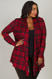 Plus Size Flannel Long Sleeve Cardigan