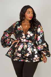 DEEP V-NECK LONG PUFFED OUT SLEEVES AND WAIST SHINY FLOWER TOP