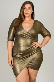 Plus Size 3/4 Sleeve Overlap Mini Dress