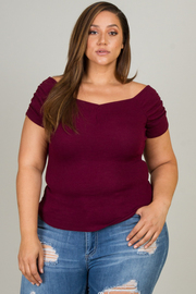Plus Size Ruched Off The Shoulder Short Sleeve Top