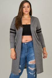 Plus Size Varsity Sleeve Open Cardigan