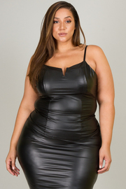 Plus Size Pleather Front V-Wire Cami and Pencil Skirt Set