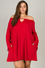 Plus Size Off The Shoulder Long Sleeve With Pocket Dress