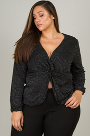 Plus Size Long Sleeve Top With Knott Accent On Front