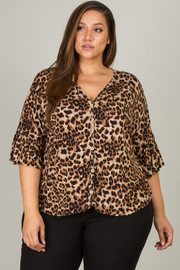 Plus Size Short Sleeve Button Down Top