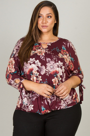 Plus Size 3/4 Long Sleeve Tie-Up At Hem Top