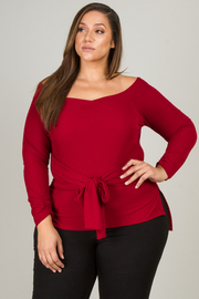 Plus Size Long Sleeve Blouse With Tie-Up Belt