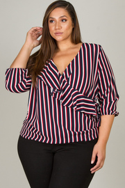 Plus Size Overlap Ruffle 3/4 Sleeve Blouse
