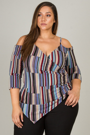 Plus Size Asymmetrical 3/4 Sleeve With Cut Out At Shoulder Top