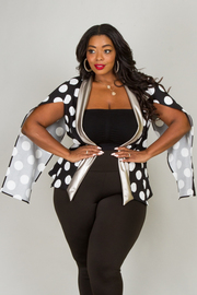 Plus Size SLIT SLEEVE POLKA DOT AND LEATHER JACKET