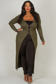 Plus Size DEEP V-NECK LONG SLEEVE LIKE EMBO CARDIGAN