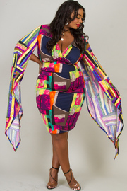 Plus Size DEEP V-NECK CASCADE SLEEVE PRINTED TOP AND SKIRT SET