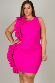 Plus Size Sleeveless Mini Dress That Features Ruffle-Accent At Side