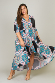 Plus Size V Neck 3/4 Sleeve Floral Printed Casual Dress