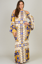 Plus Size Long Bell Sleeve With Cut-Out At Shoulder Fitted Long Dress