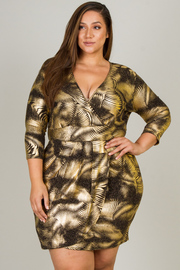 Plus Size 3/4 Sleeve V-Neck Overlap Mini Dress