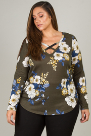 Plus Size Long Sleeve Flora To With Crisscross Accent On Neck Line
