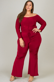 Plus Size Two Piece Set Long Sleeve Off The Shoulder Crop Top And Bell Bottom Legging