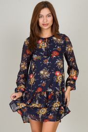 Long Sleeve High Neck Floral Dress