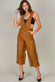 Suede Capri Overall With Pocket On Front