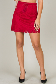Suede Mini Skirt With Tie-Up At Waist And Detail At The Hem