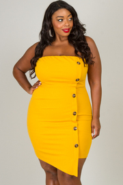 Plus Size Tube Dress With Side Button Detail
