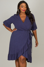 Plus Size Ruffled Short Sleeve Wrap Dress