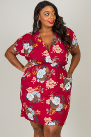 Plus Size Short Sleeve Pleat At The Waist With Pocket Floral Dress