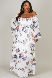 Plus Size Off The Shoulder Long Bell Sleeve Rushed Torso Floral Dress