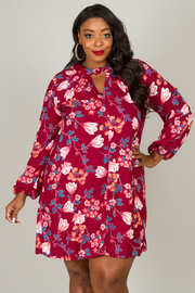 Plus Size High Neck Long Sleeve Floral Dress