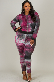 Plus Size Tie Dye Set Of Zip-Up Jacket And Fitted Pants