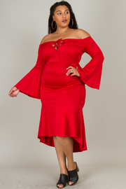 Plus Size Off The Shoulder With Lace-Up  Accent At Neck Line