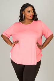 Plus Size Short Sleeve Top With An Accent On The Back