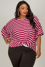 Plus Size 3/4 Small Bell Sleeve Top With Knot At Waist