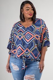 Plus Size 3/4 Sleeve Abstract Blouse